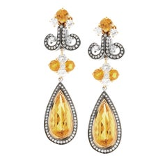 Zorab Creation Citrine Quartz Diamond Drop Earrings