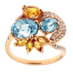 Zorab Creation Blue Zircon, Yellow Sapphire and White Diamond Gold Swirl Ring