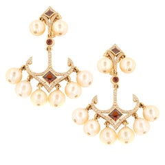 Zorab Creation Pearl Garnet Spinel with White Diamonds Chandelier Gold Earring