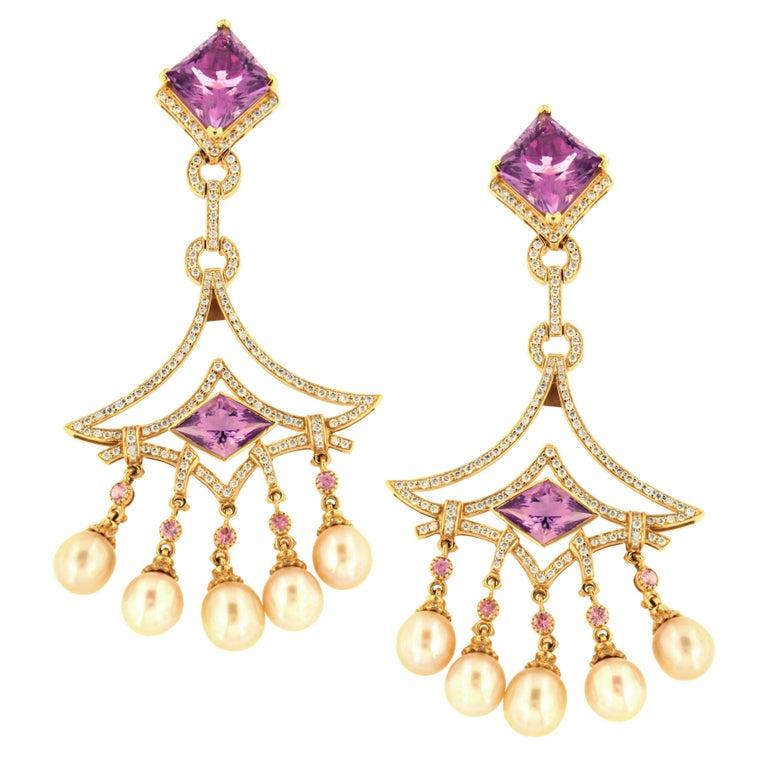 Zorab Creation Amethyst Quartz Pearl and Sapphire Diamond Earrings 18 Karat Gold