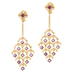 Zorab Creation Amethyst Quartz and Diamond Rose Gold Chandelier Earrings
