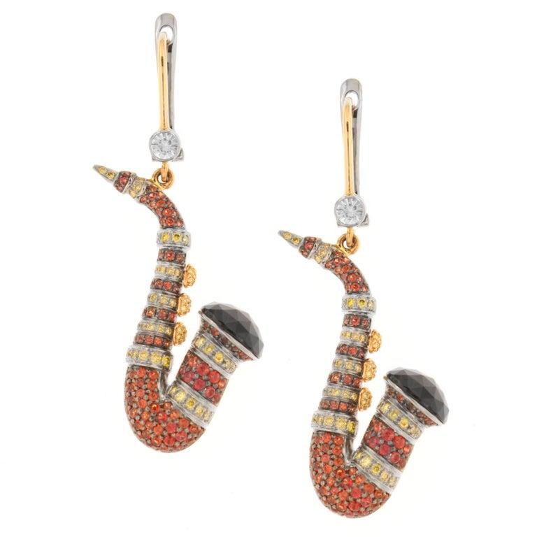 Zorab Creation Orange Red Sapphire Spinel Diamond Saxophone Dangle Earrings