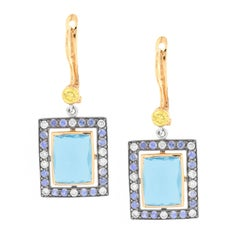 Zorab Creation 12.33 Carat Blue Topaz Sapphire Diamonds Gold Drop Earrings