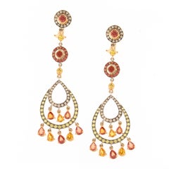 Zorab Creation Feria Earrings in 13 carats of multi-color Sapphires