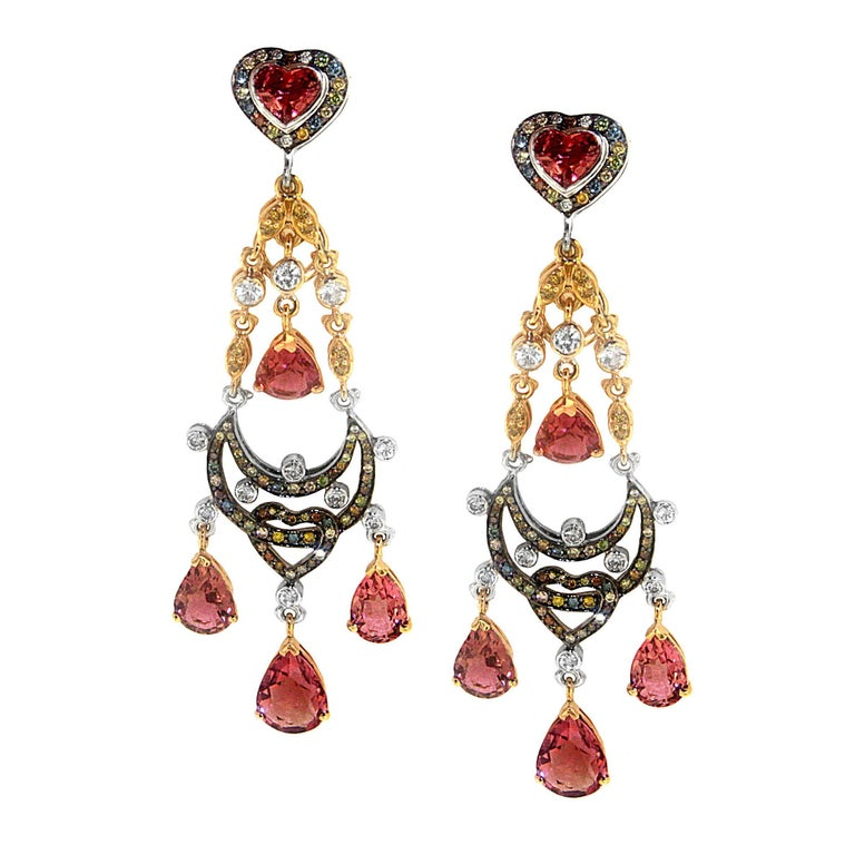 Zorab Creation Pink Tourmaline Multi-Color Diamond Sapphire Chandelier Earrings