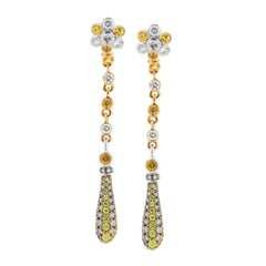 Zorab Creation Yellow Sapphire and Diamond Drop Earring