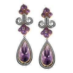 Zorab Creation 20.20 Carat Amethyst Quartz Diamond Chandelier Earrings