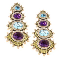 Zorab Creation Amethyst Quartz Blue & Yellow Saphhire Diamond Drop Gold Earrings