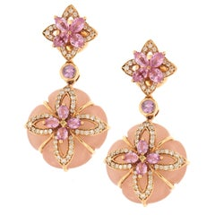 Zorab Creation Pink Chalcedony, White Diamond and Pink Sapphire Drop Earrings