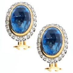 Zorab Creation 18.69 Carat Blue Topaz Sapphire Diamond Classic Gold Earrings