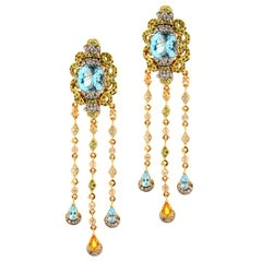 Zorab Creation 20.74 Carat Blue Topaz Sapphire Diamond Blue Zircon Earrings