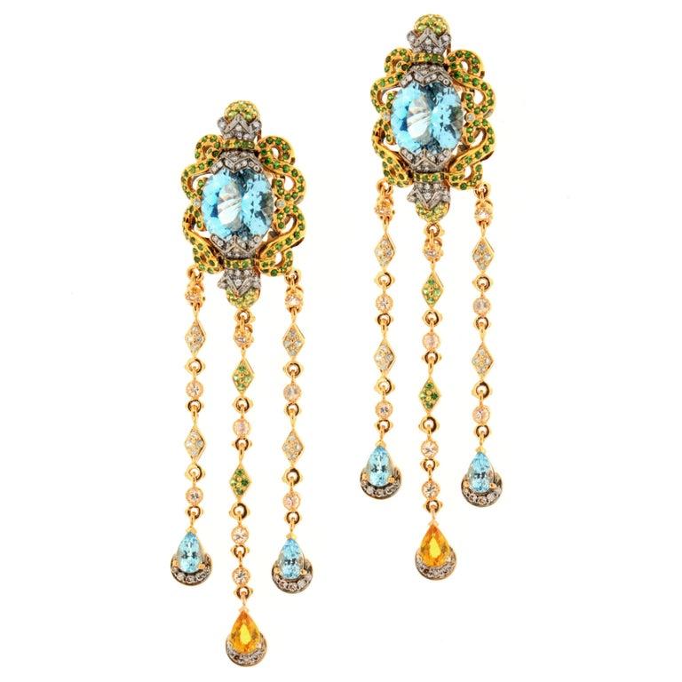 Zorab Creation 20.74 Carat Blue Topaz Sapphire Diamond Blue Zircon Earrings