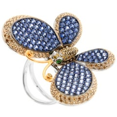 Zorab Creation Sapphire Garnet Diamond Butterfly Cocktail Ring