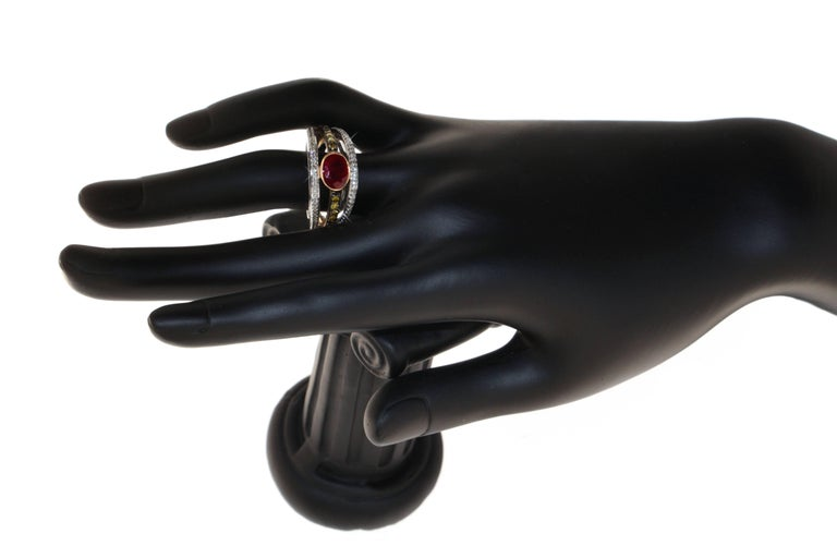 Contemporary Zorab Creation Ruby with White and Yellow Diamonds Gold Ring For Sale