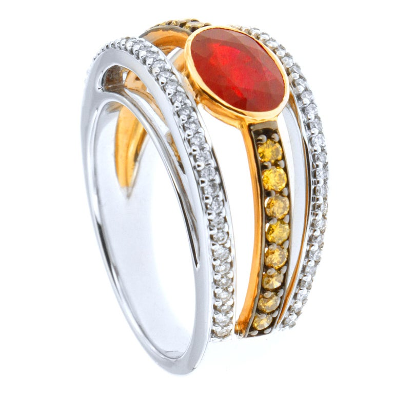 Women's or Men's Zorab Creation Ruby with White and Yellow Diamonds Gold Ring For Sale
