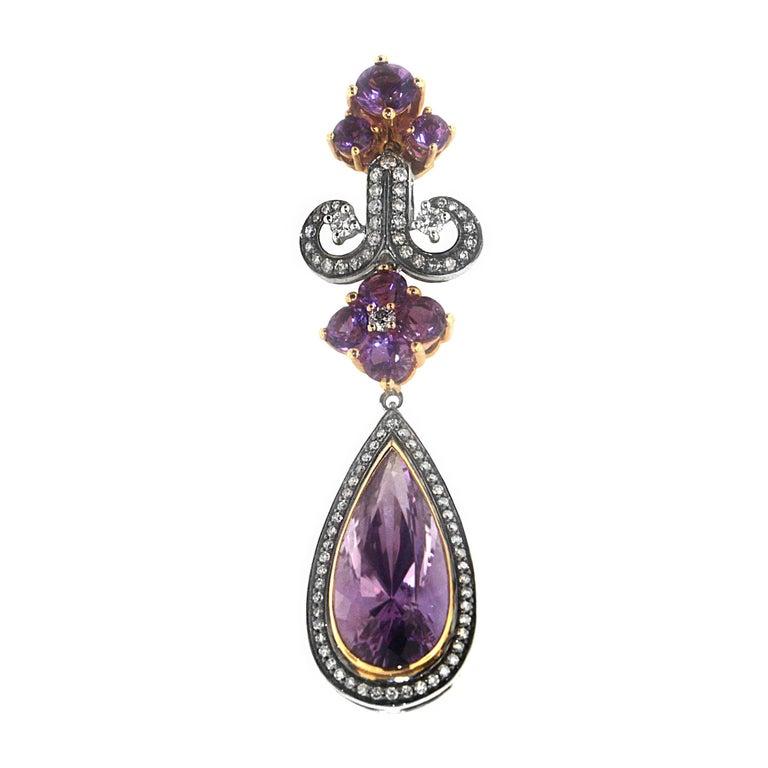 Serial Earrings: Zorab Creation 20.20 Carat Amethyst Quartz Diamond