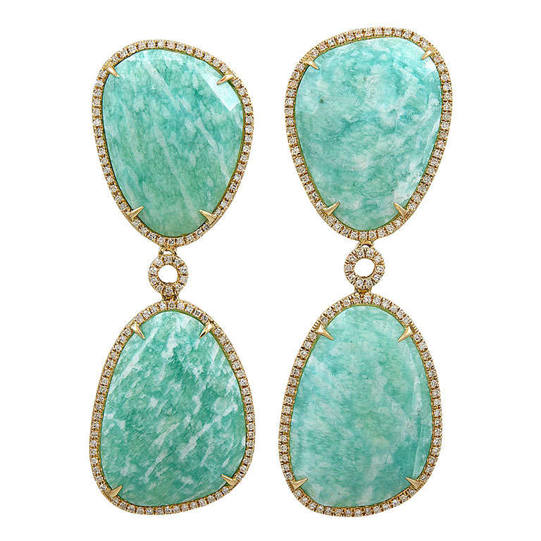 Amazonite and Diamond Earrings For Sale