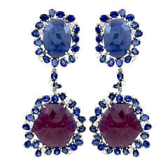 Sliced Ruby,Sapphire and Diamond Earrings