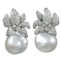 Natural Baroque south Sea Pearl and diamond Earrings
