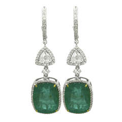 Emerald Cushion and Diamond Earrings