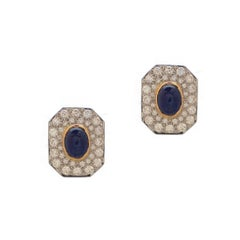 Cabochon Sapphire Diamond Gold Earrings