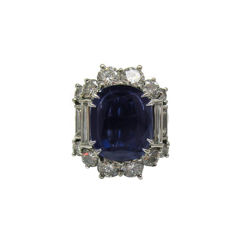 Contemporary 6.57 Carat GIA Certified Un-Heated Blue Sapphire and Diamond Ring in Platinum For Sale