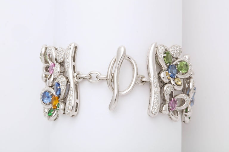 White Gold and Diamond Multi-Color Sapphire Butterfly Strap Bracelet In New Condition For Sale In New York, NY