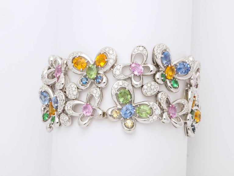 Round Cut White Gold and Diamond Multi-Color Sapphire Butterfly Strap Bracelet For Sale