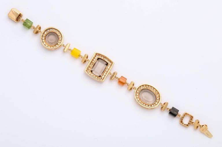 Women's or Men's Rose Gold Artistic Fancy Link Gemstone and Diamond Bracelet For Sale