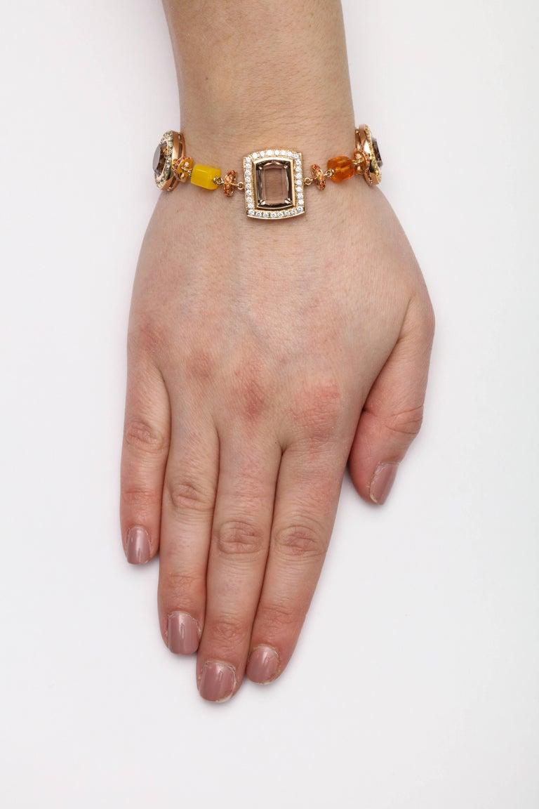 Rose Gold Artistic Fancy Link Gemstone and Diamond Bracelet For Sale 3