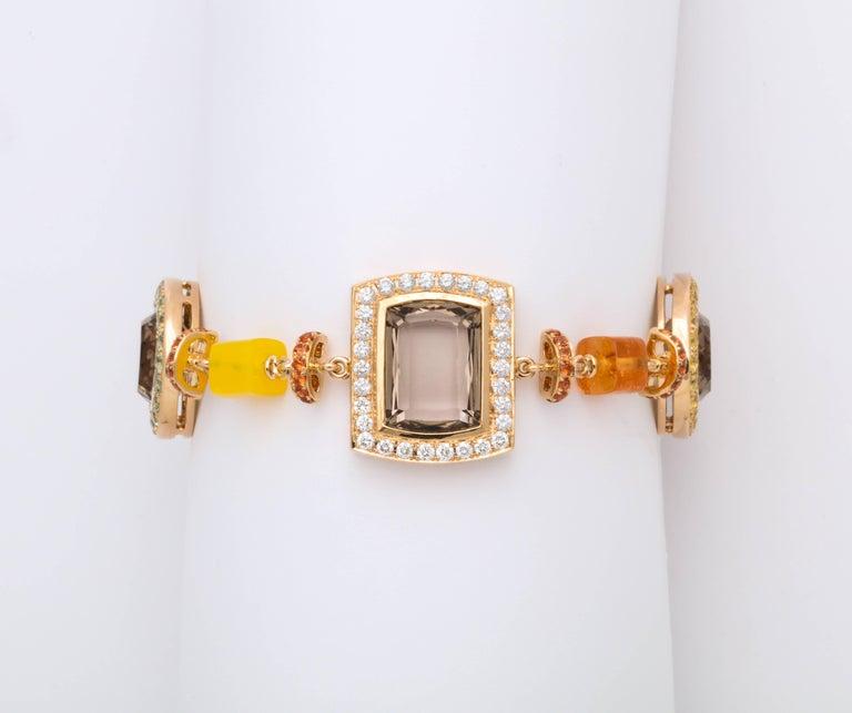 Rose Gold Artistic Fancy Link Gemstone and Diamond Bracelet For Sale 2