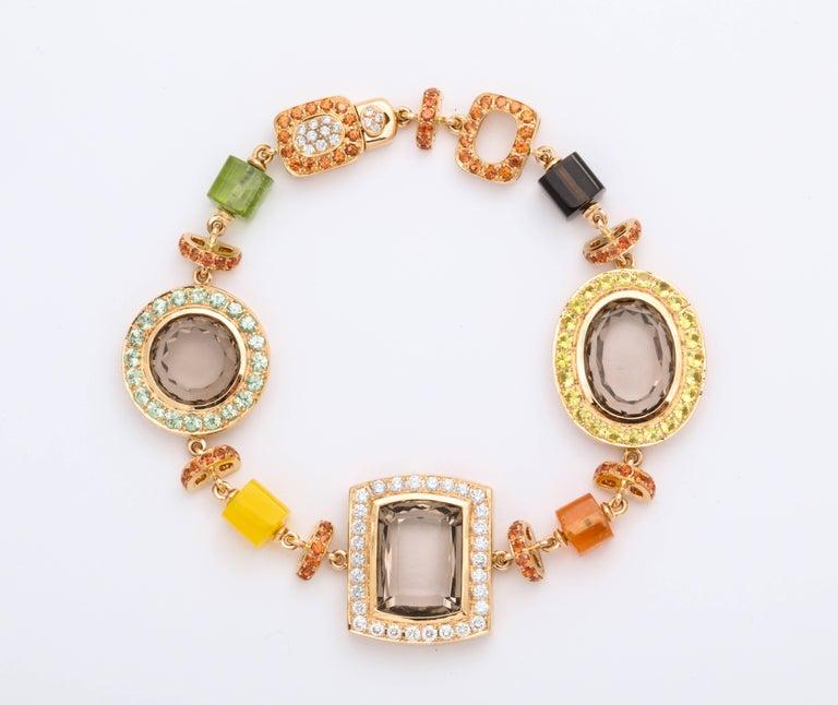 Rose Gold Artistic Fancy Link Gemstone and Diamond Bracelet For Sale 1