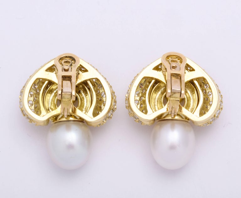 Contemporary Yellow Gold Diamond and South Sea Pearl Earrings For Sale
