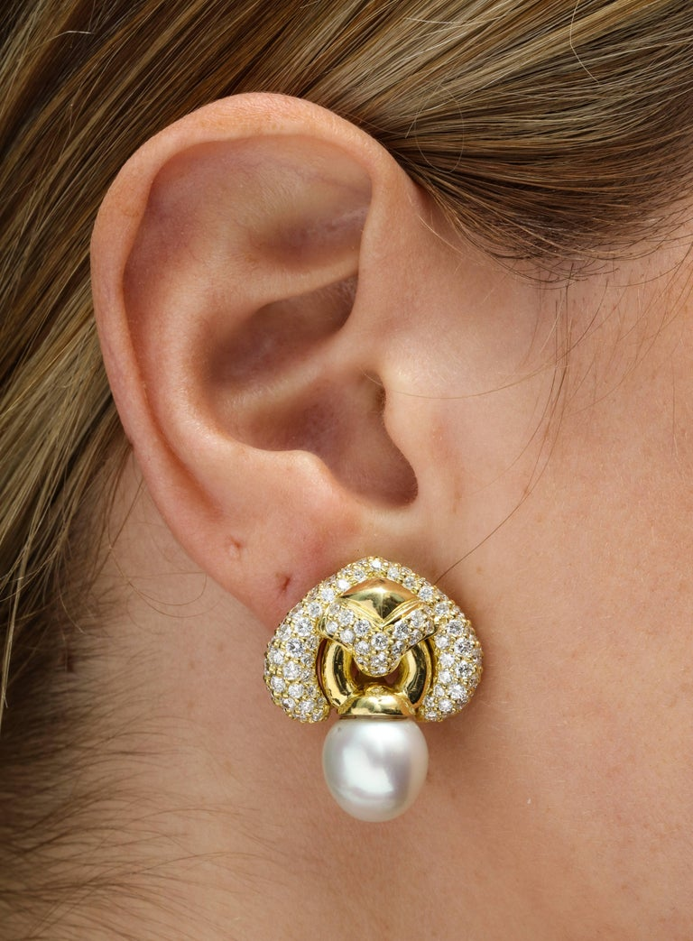 Yellow Gold Diamond and South Sea Pearl Earrings In New Condition For Sale In New York, NY