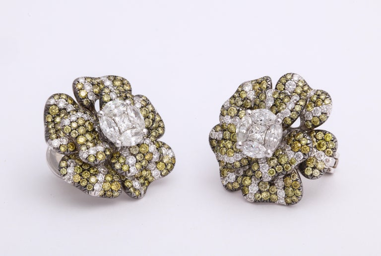 Contemporary White Gold, Multi-Color Diamond Floral Earrings For Sale