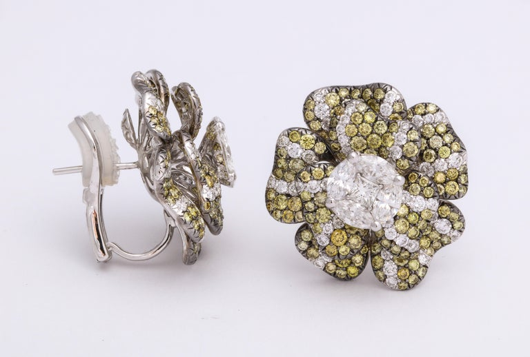 Round Cut White Gold, Multi-Color Diamond Floral Earrings For Sale