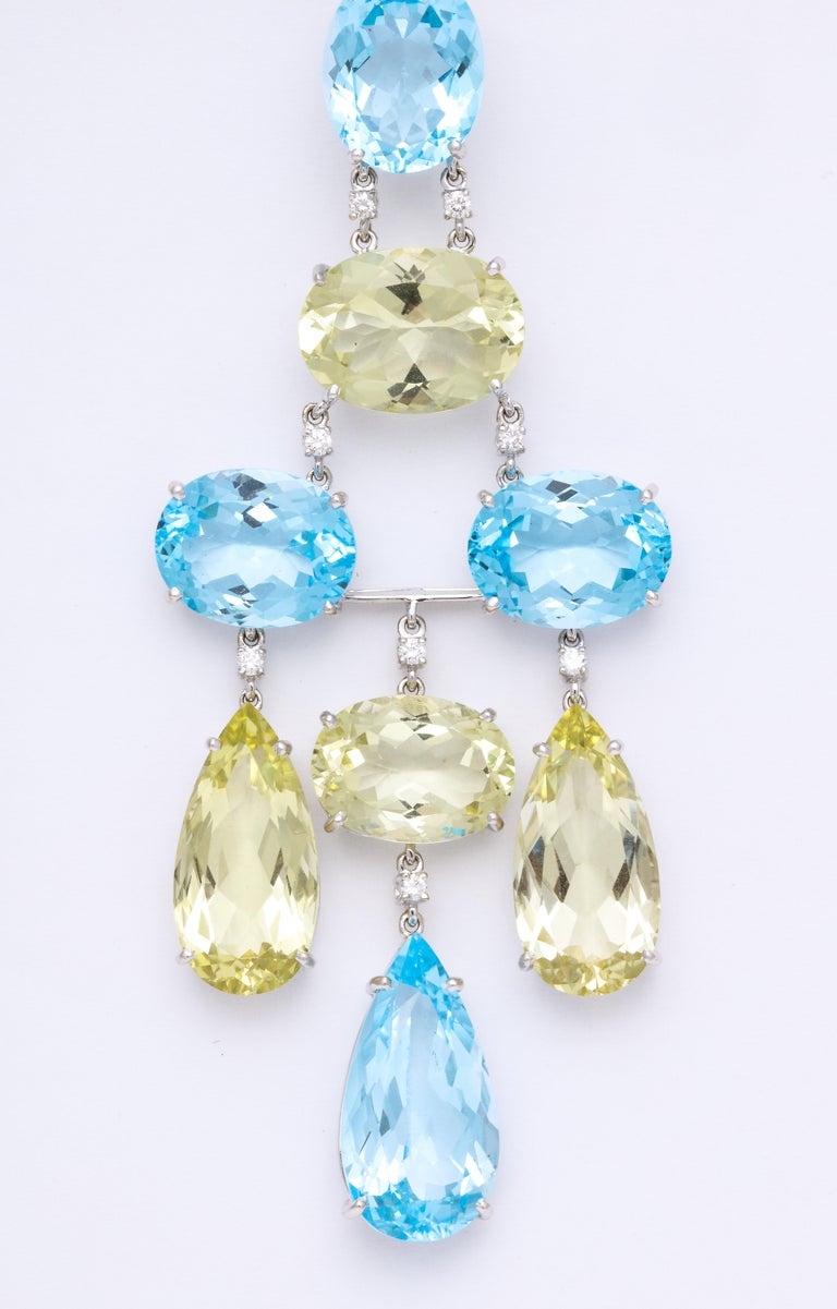 White gold blue topaz peridot and diamond chandelier earrings for contemporary white gold blue topaz peridot and diamond chandelier earrings for sale aloadofball Image collections