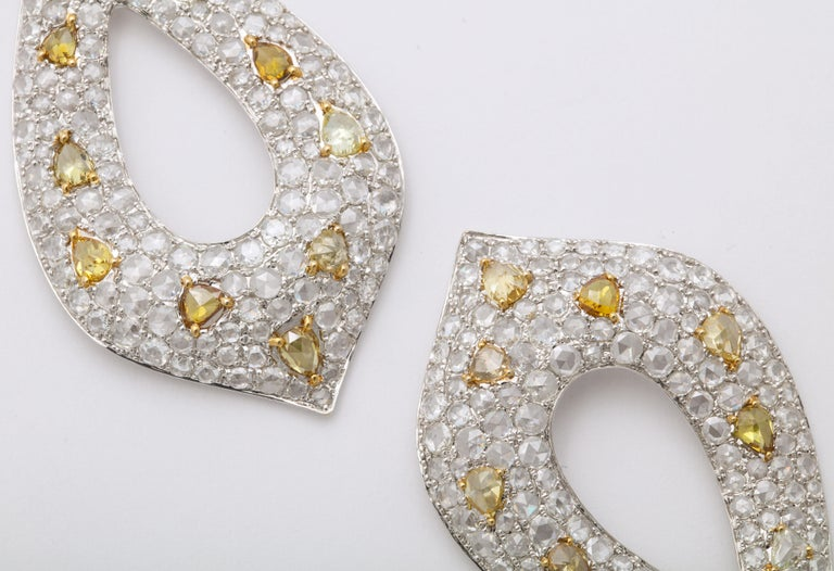 White Gold, Diamond, Natural Fancy Yellow Rose-Cut Diamond Ear Pendant Earrings In New Condition For Sale In New York, NY