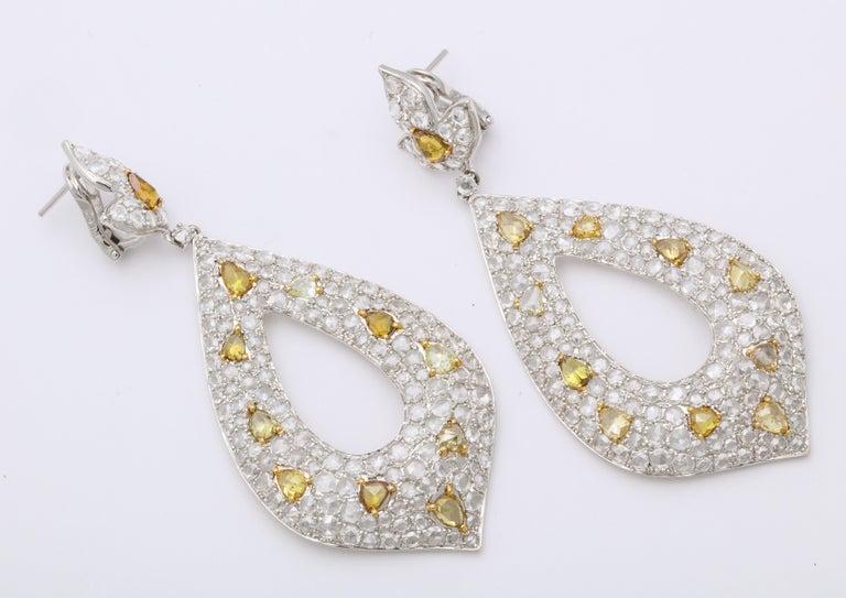Pear Cut White Gold, Diamond, Natural Fancy Yellow Rose-Cut Diamond Ear Pendant Earrings For Sale