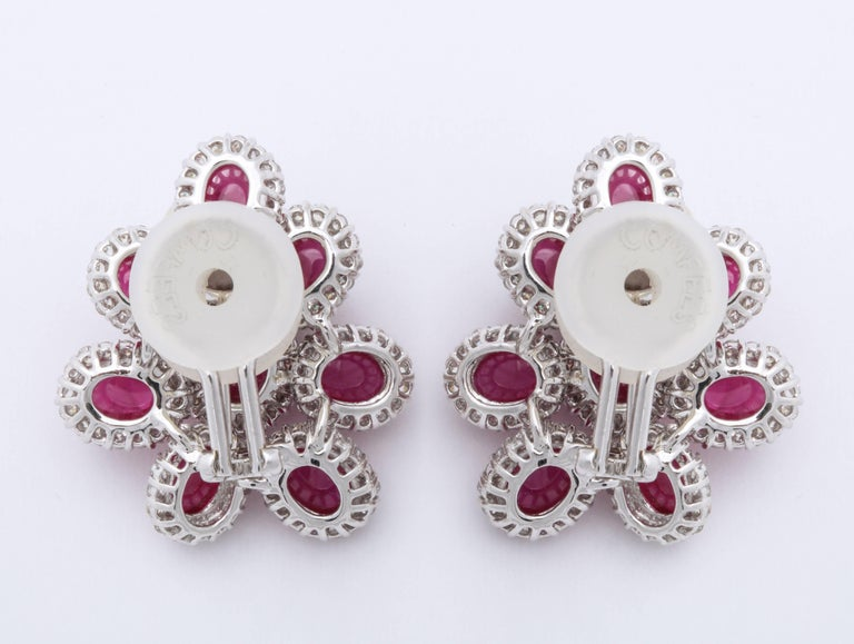 Modern Ruby and Diamond White Gold Earrings For Sale