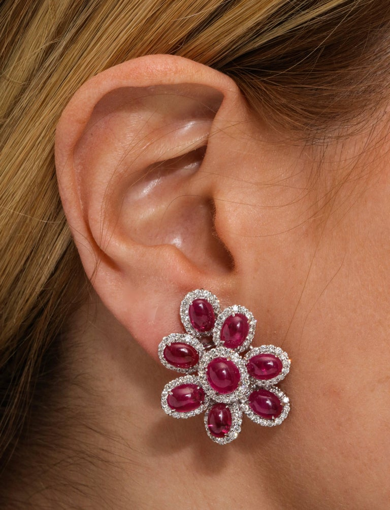 Oval Cut Ruby and Diamond White Gold Earrings For Sale