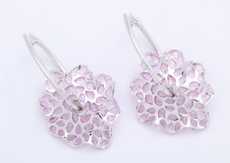 Contemporary Pink Sapphire and Diamond White Gold Earrings For Sale