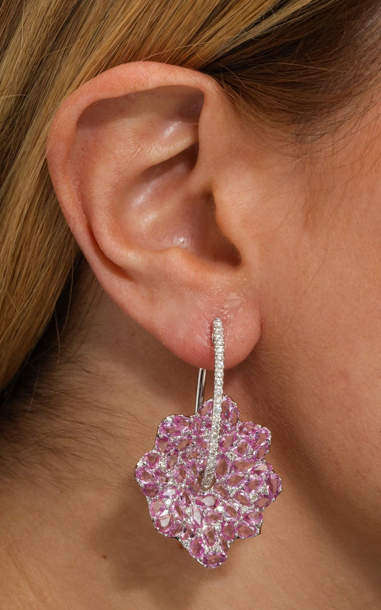 Rose Cut Pink Sapphire and Diamond White Gold Earrings For Sale