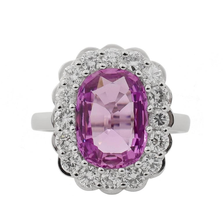 3.55 Pink Topaz Diamond And White Gold Cocktail Ring For