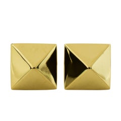 Gold Pyramid Stud Earrings