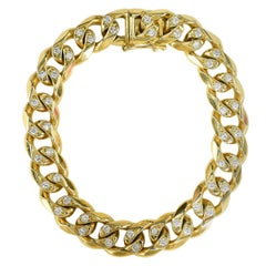 Chain Link Diamond Gold Bracelet