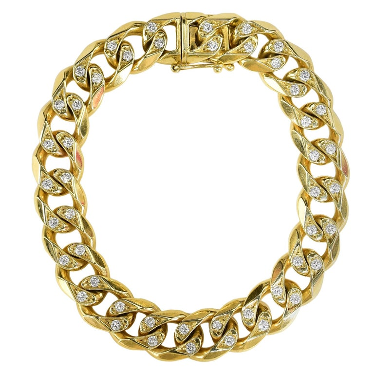 Chain Link Diamond Gold Bracelet