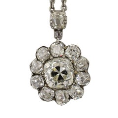 Antique Diamond Cluster Pendant