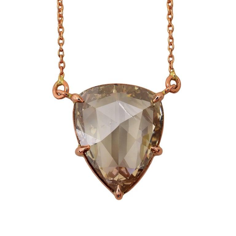 2.82 Carat Champagne Rose Cut Diamond Pendant