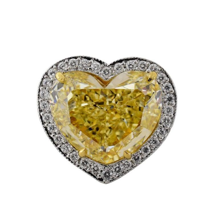 7.12 Carat Fancy Yellow Heart Shaped Diamond Platinum Ring